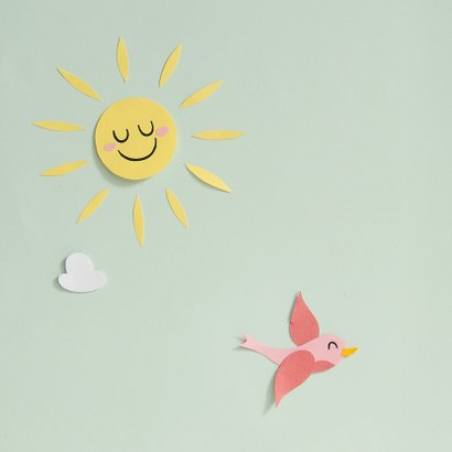 Felicitatie verjaardagskaart baby peuters wolkje zonnetje 2