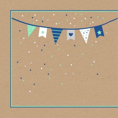 Felicitatie - Vlaggetjes met confetti jongen 2