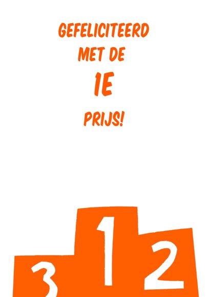 Felicitatie voor de eerste plaats in oranje 3