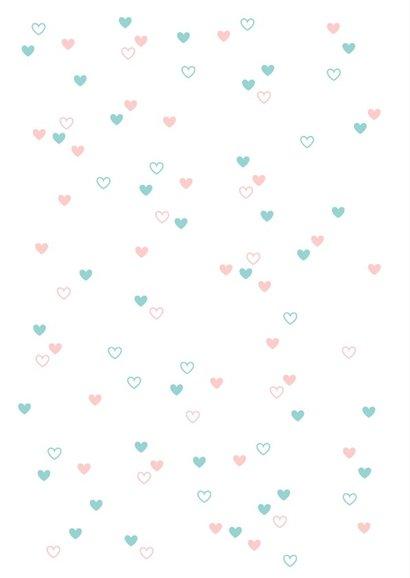 Felicitatie - Vrolijke blauwe en roze hartjes 2