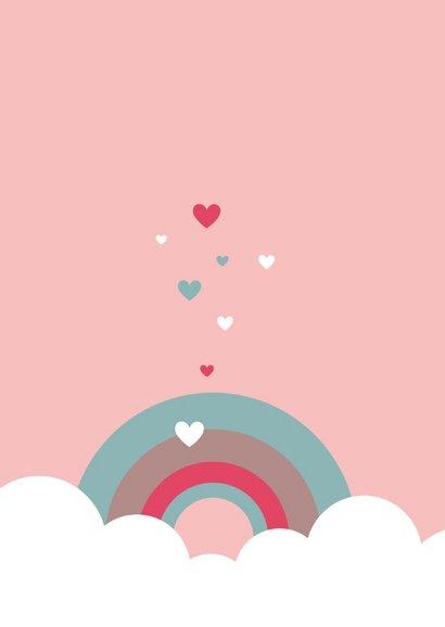 Felicitatie - Wolken, regenboog en hartjes 2