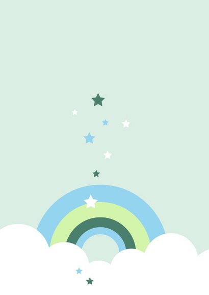 Felicitatie - Wolken, regenboog en sterren 2