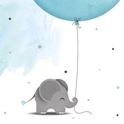 Felicitatie zoon olifantje met ballon en vogel 2