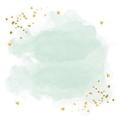 Felicitatie zwangerschap waterverf mintgroen goudlook Achterkant