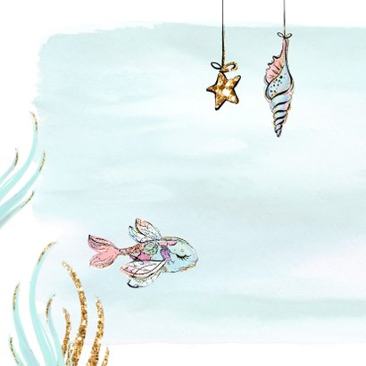 Felicitatiekaart zwangerschap met zeemeermin in waterverf 2