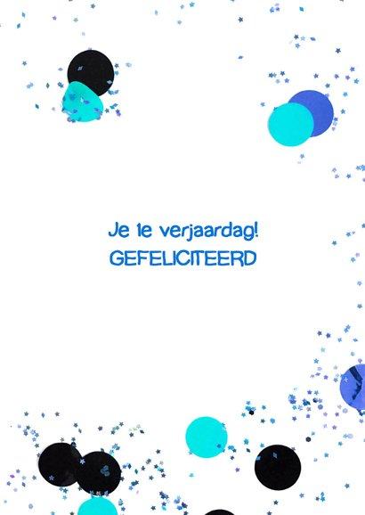 felicitatiekaart 1 jaar confetti blue 3