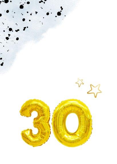 Felicitatiekaart 30ste verjaardag man met cijferballonnen 2