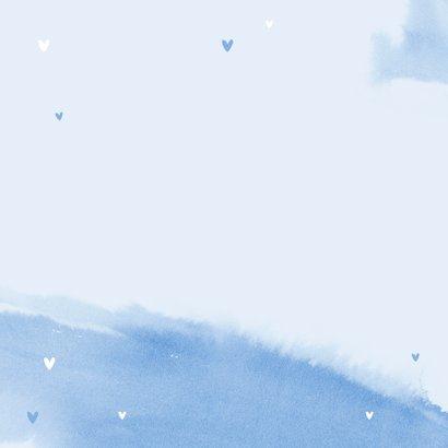 felicitatiekaart baby geboorte een jongen waterverf blauw 2
