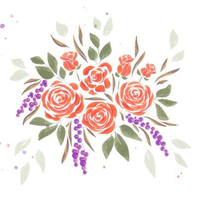 Felicitatiekaart boeket oranje rozen  2
