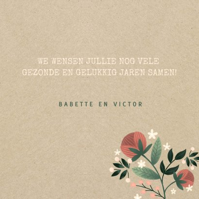 Felicitatiekaart botanisch met bloemen, planten en kraftlook 3