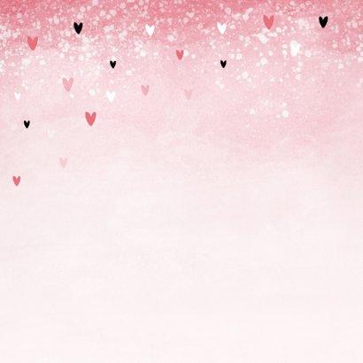 Felicitatiekaart communie meisje roze hartjes waterverf 2