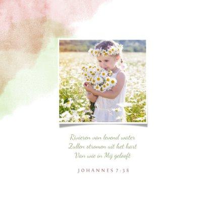 felicitatiekaart communie met duif van bloemen en waterverf 2
