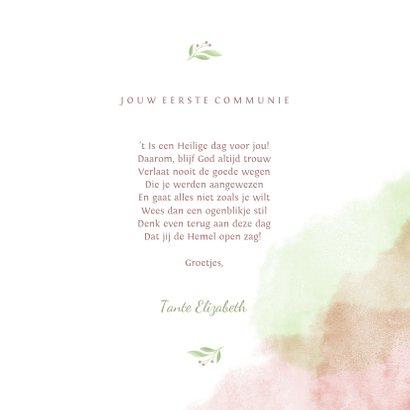 felicitatiekaart communie met duif van bloemen en waterverf 3