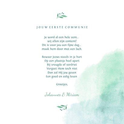 Felicitatiekaart communie met waterverf en duif van bloemen 3