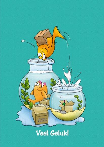 Felicitatiekaart een nieuw onderkomen met vissenkom 3