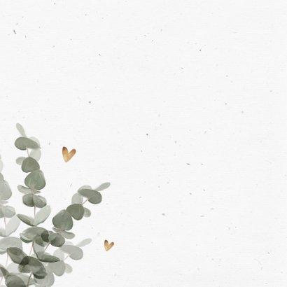 Felicitatiekaart eerste communie eucalyptus goud hartjes 2