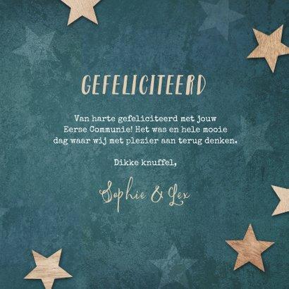 Felicitatiekaart eerste communie label houten sterren blauw 3