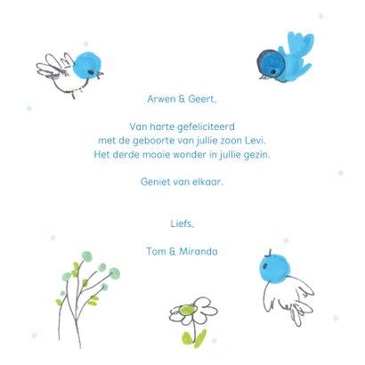 Felicitatiekaart geboorte blauwe vogeltjes om cirkel 3