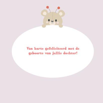Felicitatiekaart geboorte dochter beer 3