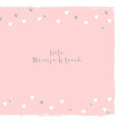 Felicitatiekaart geboorte hartjes hip roze  3