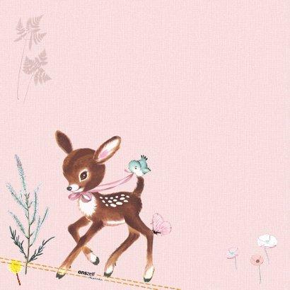 Felicitatiekaart geboorte hertje roze 2