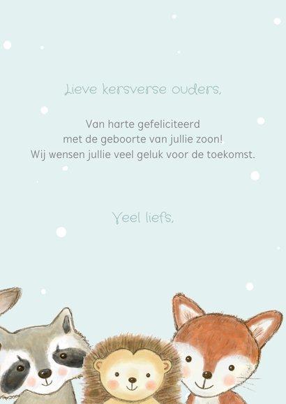 Felicitatiekaart geboorte jongen bosdieren met confetti  3