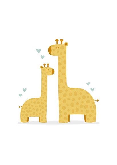 Felicitatiekaart geboorte jongen giraffes met hartjes 2