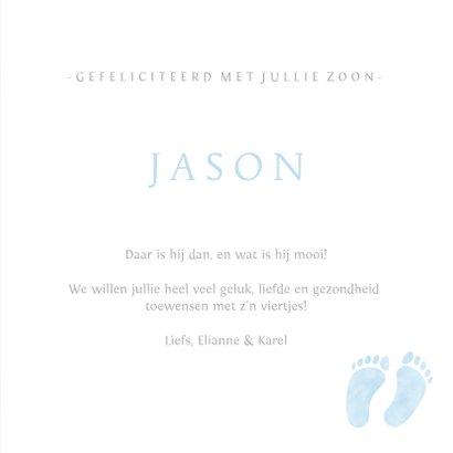 Felicitatiekaart geboorte jongen met blauwe babyvoetjes 3