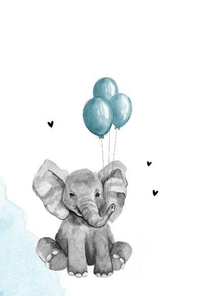 Felicitatiekaart geboorte jongen olifantje blauw waterverf 2