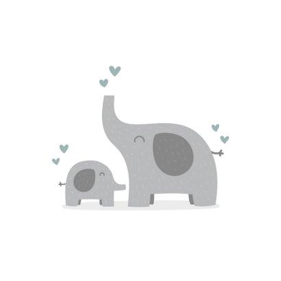 Felicitatiekaart geboorte jongen olifantjes met hartjes 2