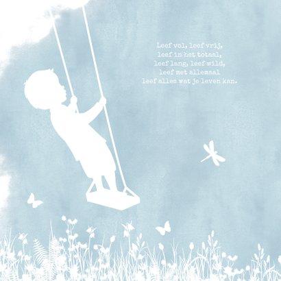 Felicitatiekaart geboorte jongen - silhouet op schommel  2