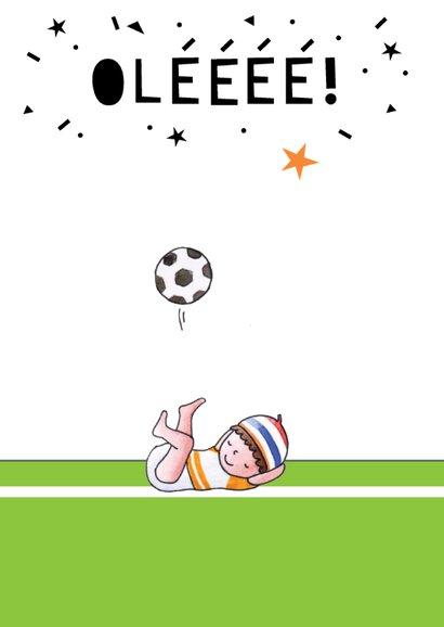 Felicitatiekaart geboorte jongen voetbal illustratie 2