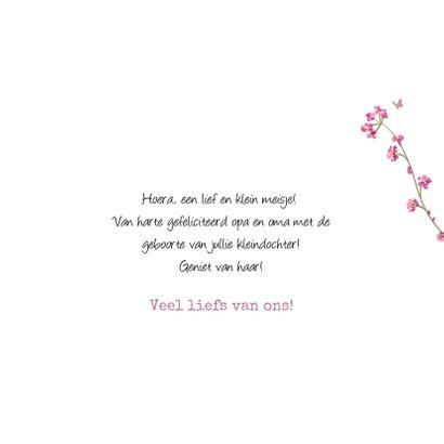 Felicitatiekaart geboorte kleindochter bloemen vogel hartjes 3