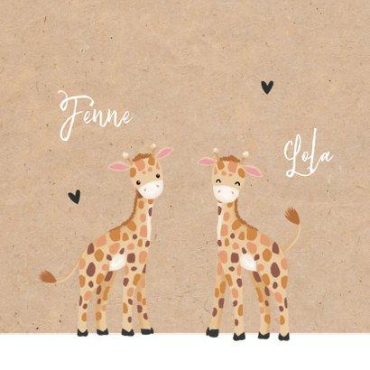 Felicitatiekaart geboorte kleindochters tweeling giraf 2
