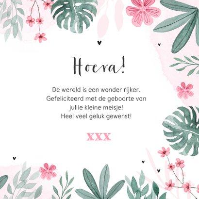 Felicitatiekaart geboorte meisje baby bloemen hartje 3