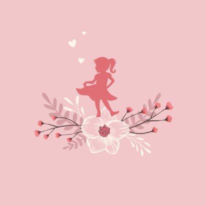 Felicitatiekaart geboorte meisje bloemen roze 2