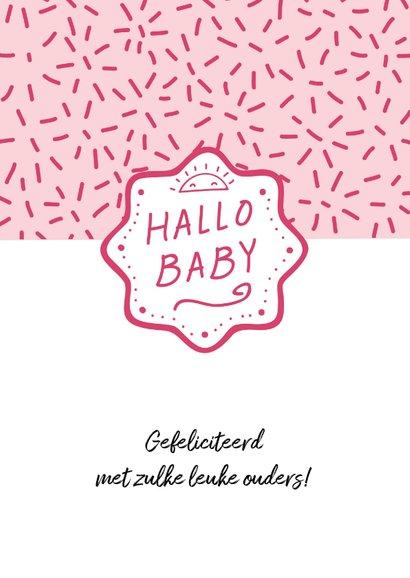 Felicitatiekaart geboorte meisje dessin roze 2