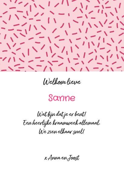 Felicitatiekaart geboorte meisje dessin roze 3