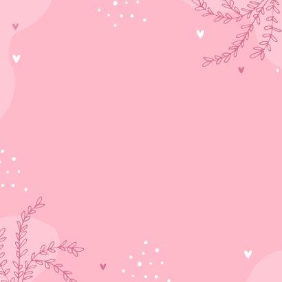 Felicitatiekaart geboorte meisje kleindochter roze hartjes 2