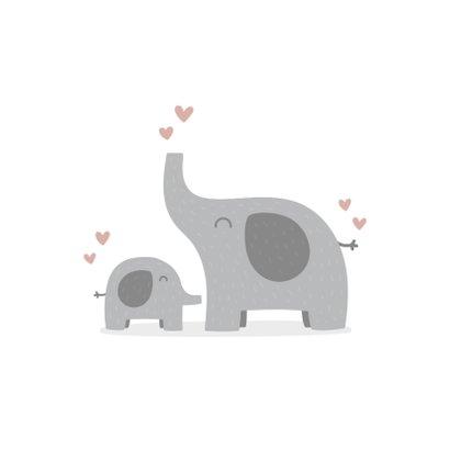 Felicitatiekaart geboorte meisje olifantjes met hartjes 2