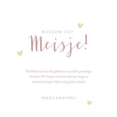 Felicitatiekaart geboorte meisje, roze met gouden hartjes 3