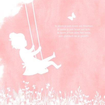 Felicitatiekaart geboorte meisje - silhouet op schommel  2