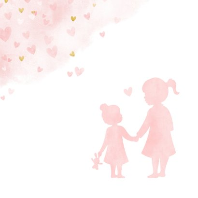 Felicitatiekaart geboorte meisje silhouet zusje hand in hand 2