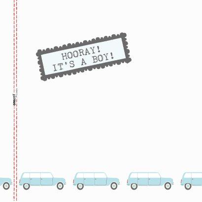 Felicitatiekaart geboorte met blauwe auto's 2