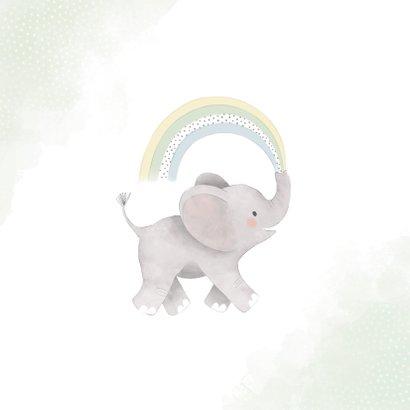 Felicitatiekaart geboorte met olifantje en regenboog zoon 2