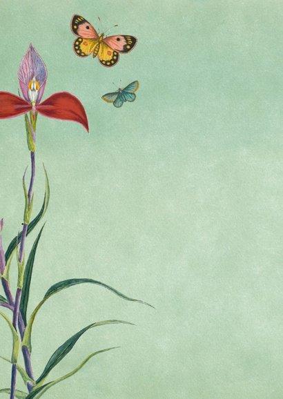 Felicitatiekaart geboorte met vintage bloemen en vlinders 2