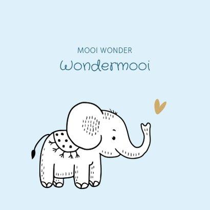 Felicitatiekaart geboorte olifantje met blauwe achtergrond 2