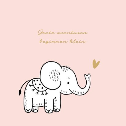 Felicitatiekaart geboorte olifantje met roze achtergrond 2