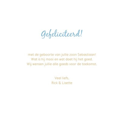 Felicitatiekaart geboorte pentekening babyhoofdje lichtblauw 3