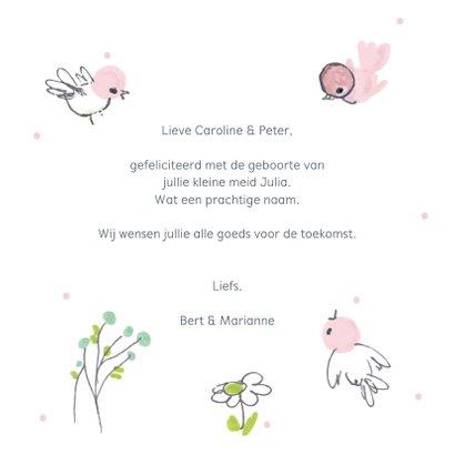 Felicitatiekaart geboorte roze vogeltjes om een cirkel 3
